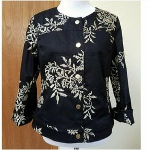 Peter Nygard Black Gold Embroidered Jacket